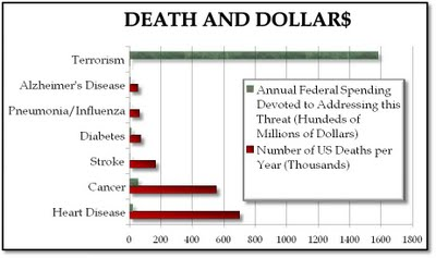 Graph of Top Causes of Death and Level of Funding to Prevent Each Type