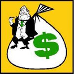 Clip Art of Banker with Money Bag