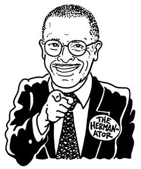 Charicature of Herman Cain